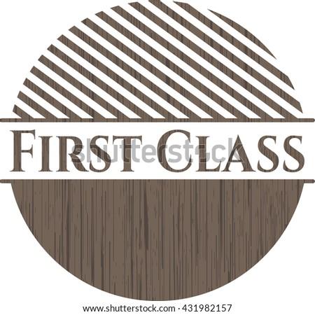 First Class vintage wood emblem