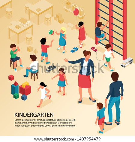 First day kindergarten activities isometric composition with teacher parent with child playing kids poster text vector illustration