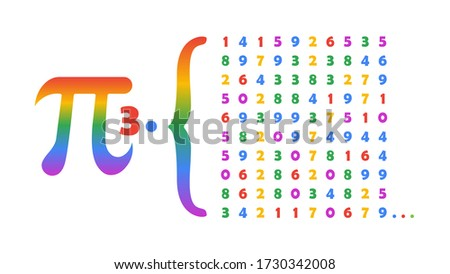 First 100 Digits of Pi colorful on white background vector illustration for pi day Sunday, 14 March. Pi constant is the ratio of a circle's circumference to its diameter.