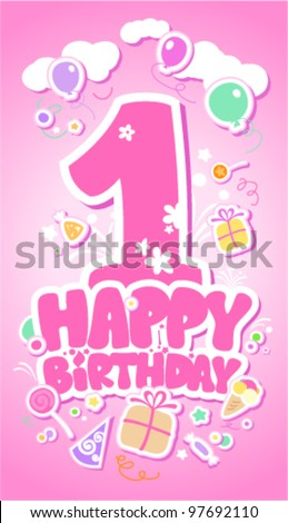 First Happy Birthday pink card.
