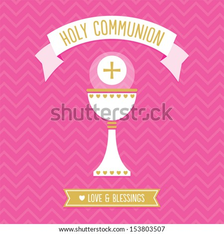 First Holy Communion Card template for a girl in pink and gold with vintage chevron background pattern See my folio for other colors and for JPEG version