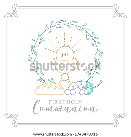 First Holy Communion Invitation with body Christ and grape with bread. vector illustration Foto stock ©