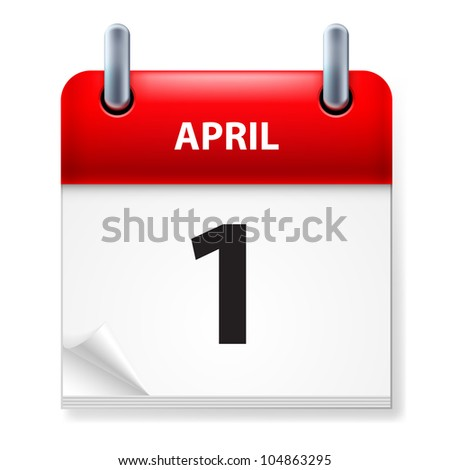 First in April Calendar icon on white background