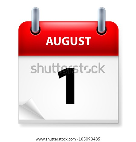 First in August Calendar icon on white background