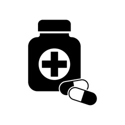 First medical aid symbol in the form of a jar with cross on it and with two pills in black and white colors. First medical aid Jar with two pills black color vector eps10. Medical bottle icon.