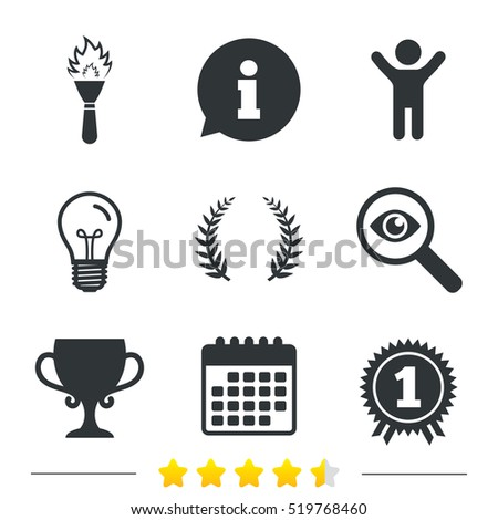 First place award cup icons. Laurel wreath sign. Torch fire flame symbol. Prize for winner. Information, light bulb and calendar icons. Investigate magnifier. Vector