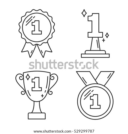 First place award - line icons, vector eps10 illustration
