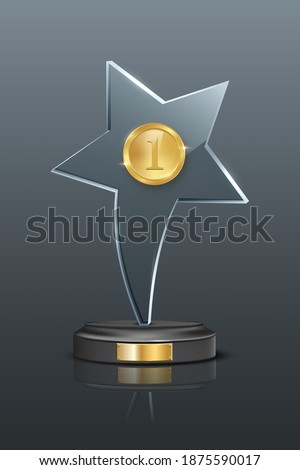 First place award trophy. Star shaped glass prize with gold number one on podium. Champion glory in competition vector illustration. Hollywood fame in film and cinema or championship in sport.