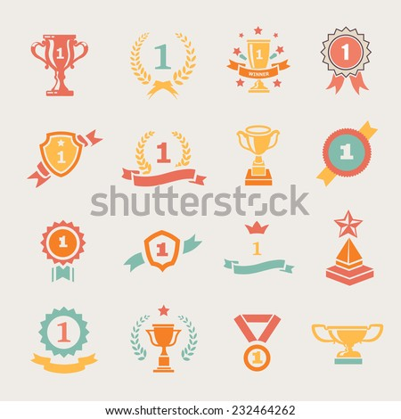First Place Badges and Winner Ribbons vector colored illustration