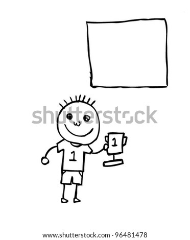 first place champion expression cartoon holding trophy vector illustration doodle