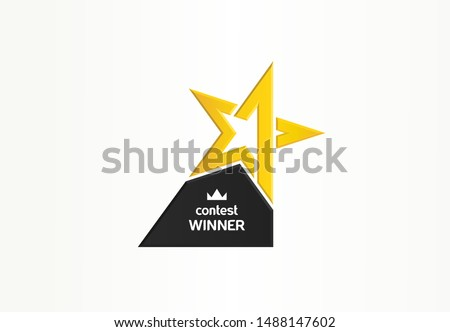 First place, contest winner, number one creative symbol concept. Award, champion abstract business logo idea. Gold star trophy icon. Corporate identity logotype, company graphic design tamplate