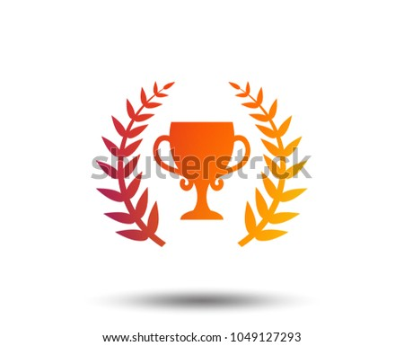First place cup award sign icon. Prize for winner symbol. Laurel Wreath. Blurred gradient design element. Vivid graphic flat icon. Vector