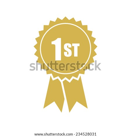 First place, gold rosette, vector illustration ストックフォト ©