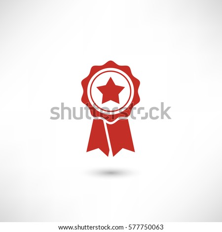 First place label user interface sign. Simply award medal badge with star icon. Sertificate ui symbol. Stamp premium quality with ribbons pictogram. EPS10 vector.