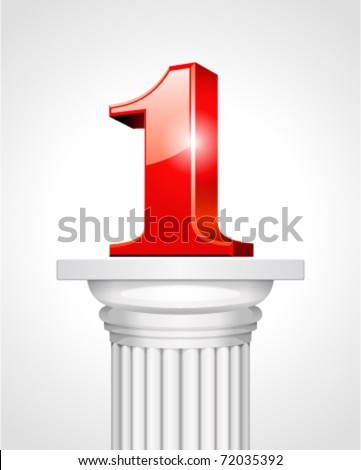 First place red 3d number one on white column