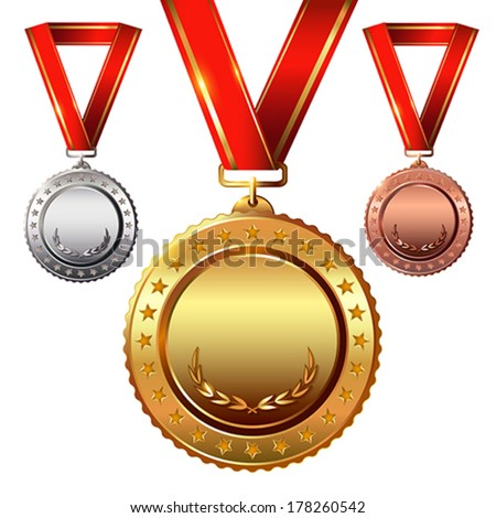 First place Second place.Third place Empty Award Medals Set isolated on white with red ribbons and stars Vector illustration