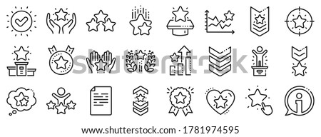 First place, star rating and winner medal. Ranking line icons. Shoulder strap, army achievement and victory ribbon icons. Star ranking, champion and winner trophy. Best level. Vector Foto stock ©