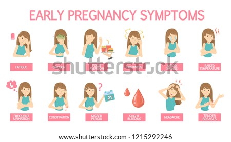 First symptoms of pregnancy. Sickness and constipation, appetite change and vomiting. Early signs of pregnant woman with mood swings. Isolated flat vector illustration