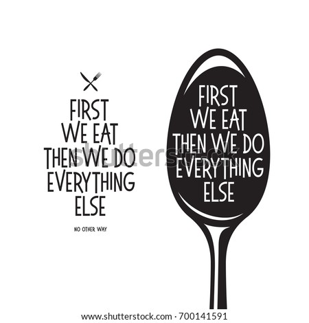 first we eat typography kitchen