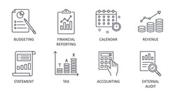 Fiscal year vector icons. Business finance company signs. Editable stroke. Financial reporting budgeting statement revenue. Calendar accounting external audit tax