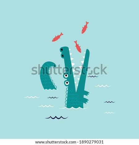fish alligator ocean sea deep food animal tee illustration art vector slogan