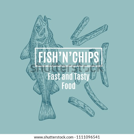 Fish and Chips Abstract Vector Card, Sign or Logo Template. Hand Drawn Cod Fish and Potato Fries with Modern Typography in a Frame. Premium Quality Vector Emblem. Isolated.