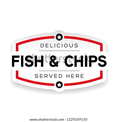 Fish and Chips label sign vintage