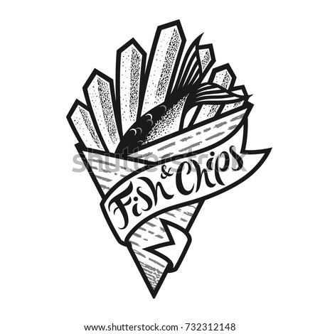 Fish and chips logo or icon with lettering. Traditional british fast food in paper cornet. Black and white isolated vector illustration for menu in restaurant, bar, cafe.