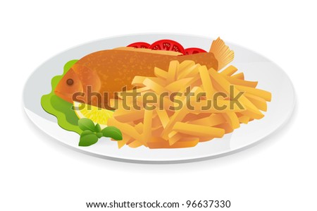 Fish and Chips on a plate. Popular take-away food in the United Kingdom. Vector illustration on white background - stock vector