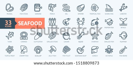 Fish and seafood elements - thin line web icon set. Outline icons collection. Simple vector illustration.
