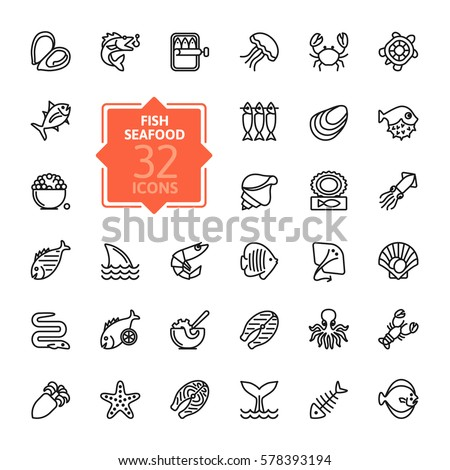 fish and seafood   outline icon