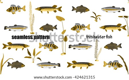fish and water plants seamless