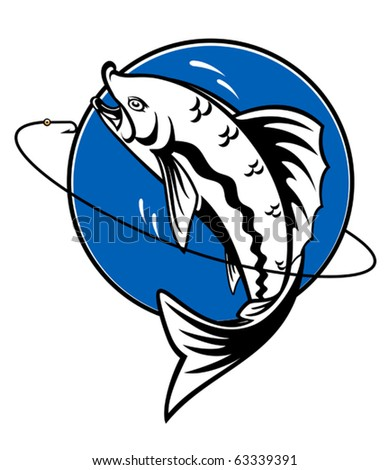 Fish as a fishing symbol for design - also as emblem. Jpeg version also available in gallery
