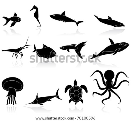 fish black icons