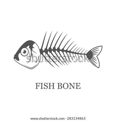 Fish bone, skeleton flat vector illustration isolated on white background - stock vector