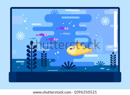 Fish bowl with deferent fishes in flat style. Glass aquarium. Vector illustration design.