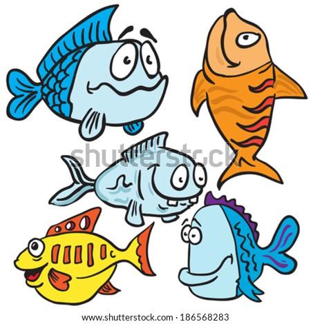 fish cartoon illustration set