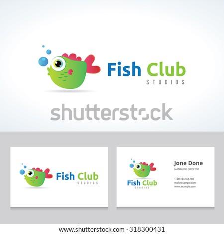 fish club fish logo pet shop