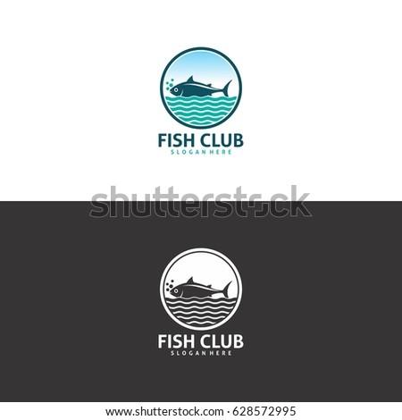 fish club logo in vector