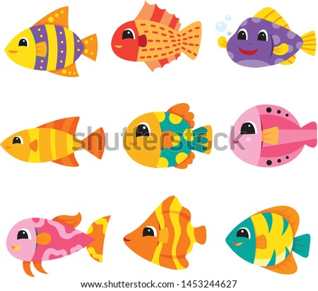 fish collection vector collection design