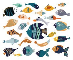 Fish collection with different decorative items isolated on white