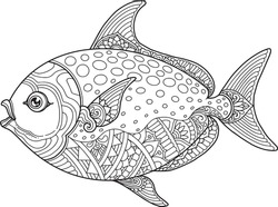 fish coloring page design clear background, mandalas design, and print design