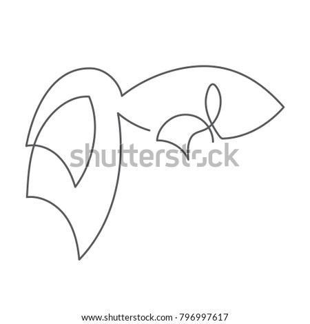 Fish continuous line drawing element isolated on white background can be used for logo or decorative element. Vector illustration of sea animal form with big tail in trendy outline style.