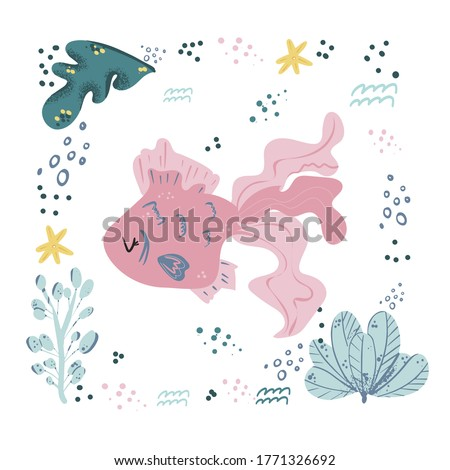 Fish cute doodle hand drawn flat vector illustration. Wild sea marine animal vector, poster floral background. Grass branches with leaves, flowers and spots design element. Sea, ocean, marine. stock photo