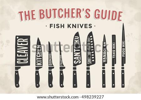 fish cutting knives set poster
