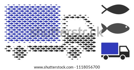 Fish delivery lorry halftone collage. Vector fish symbols are composed into delivery lorry collage. Eco design concept.