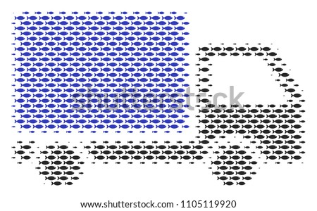 Fish delivery lorry halftone composition. Vector fish items are organized into delivery lorry mosaic.