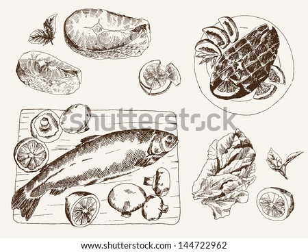 fish dish set of vector sketches
