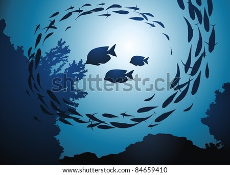 Fish eats a coral among a jamb of other fishes - stock vector