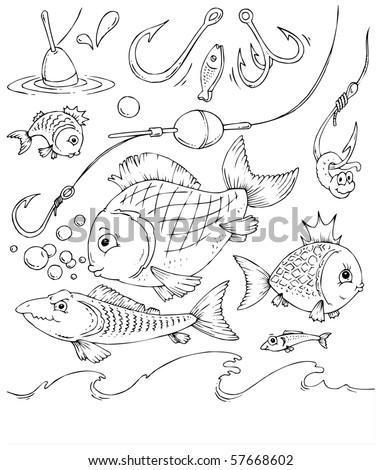 аппликация рыба и удочка
